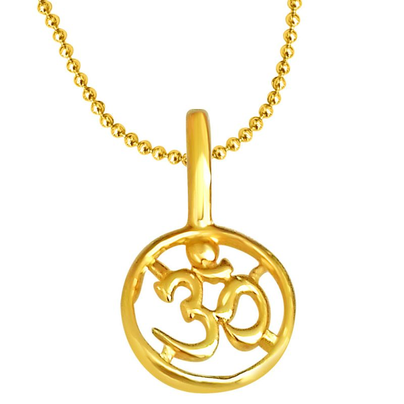 Buy surat diamond om shaped gold plated pendant in sterling silver buy surat diamond om shaped gold plated pendant in sterling silver with gold plated 22 chain mozeypictures