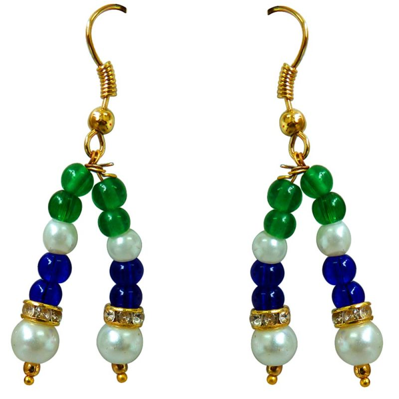 Buy Surat Diamond Blue & Green Coloured Stone & White Shell Pearl Hanging Earring For Women Se226 online