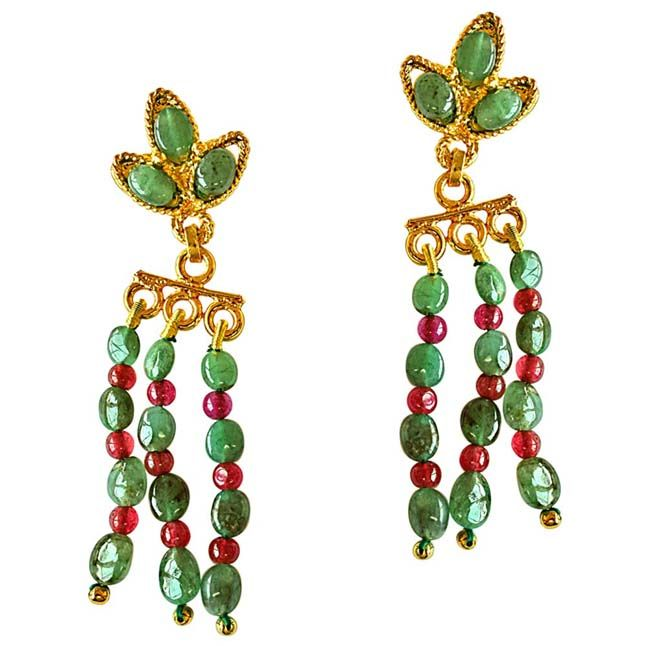 Buy Surat Diamond Oval Emerald & Round Ruby Beads Gold Plated Hanging Earrings Se252 online