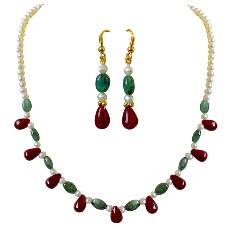 Buy Surat Diamond Real Drop Ruby, Oval Emerald & Freshwater Pearl Necklace Earring Set Sn678 online