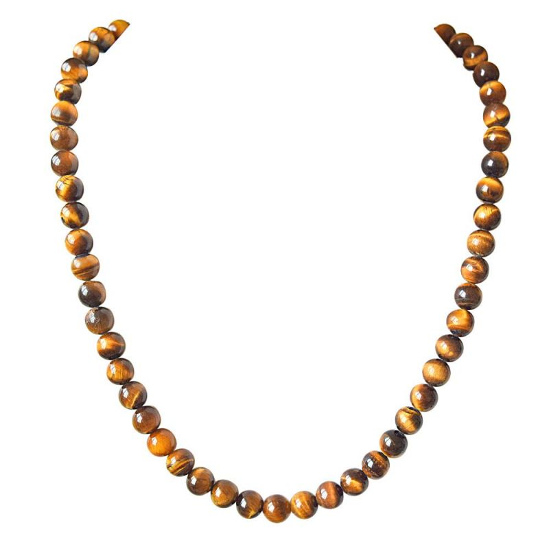 Buy Surat Diamond Single Line Real Brown Tiger Eye 18 Necklace online
