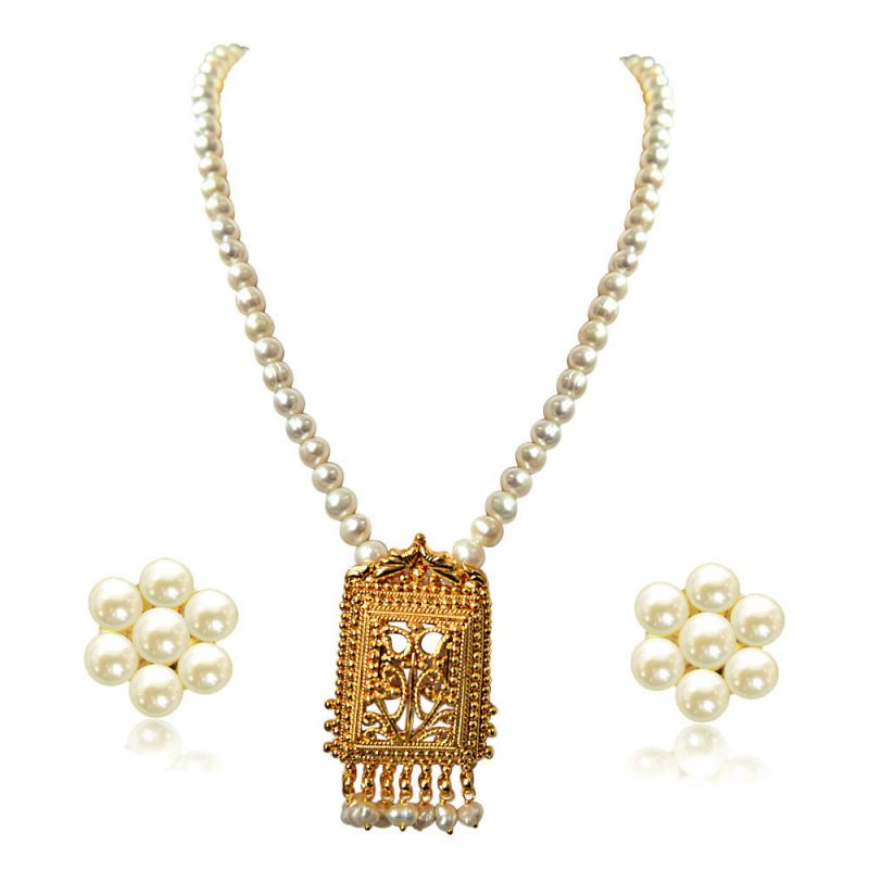 Buy Surat Diamond My Special Memories Gold Plated Pendant & Single Line Real Pearl Necklace Sn720 online
