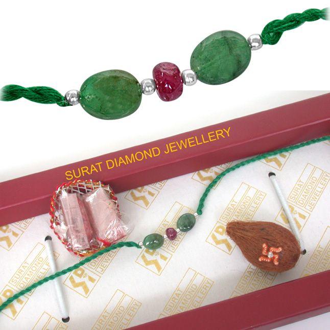 Buy Surat Diamond Beautiful Real Genuine Natural Emerald Rakhi Snre2 online