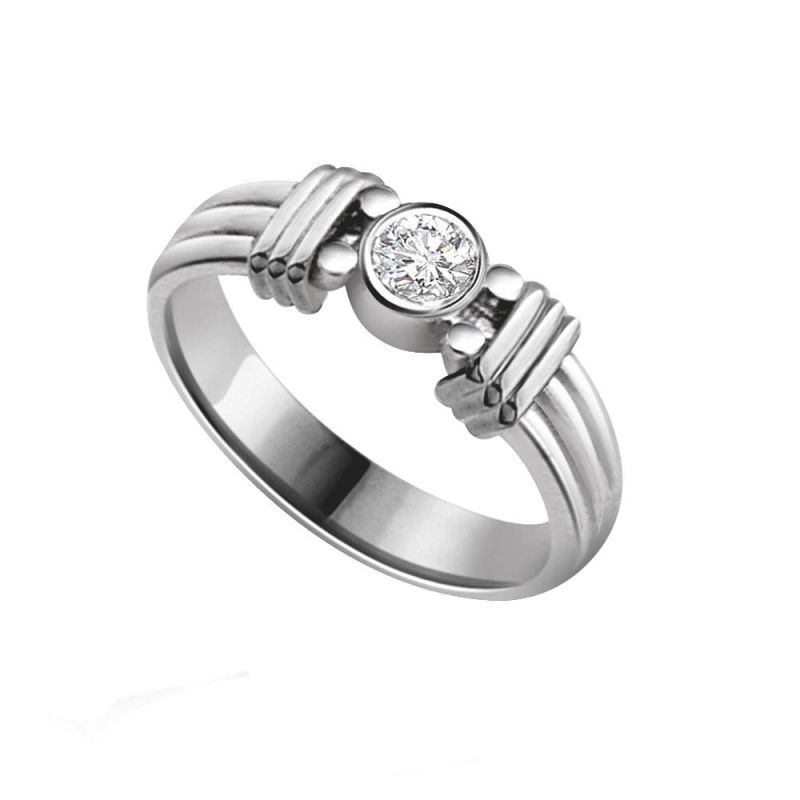 Buy Surat Diamond Diamond Solitaire Ring In 925 Sterling Silver For Engagement/wedding Ssr70 online