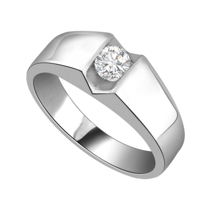Buy Surat Diamond Diamond Solitaire Ring In 925 Sterling Silver For Engagement/wedding Ssr79 online