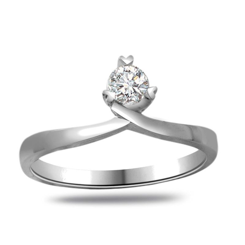 Buy Surat Diamond Diamond Solitaire Ring In 925 Sterling Silver For Engagement/wedding Ssr83 online
