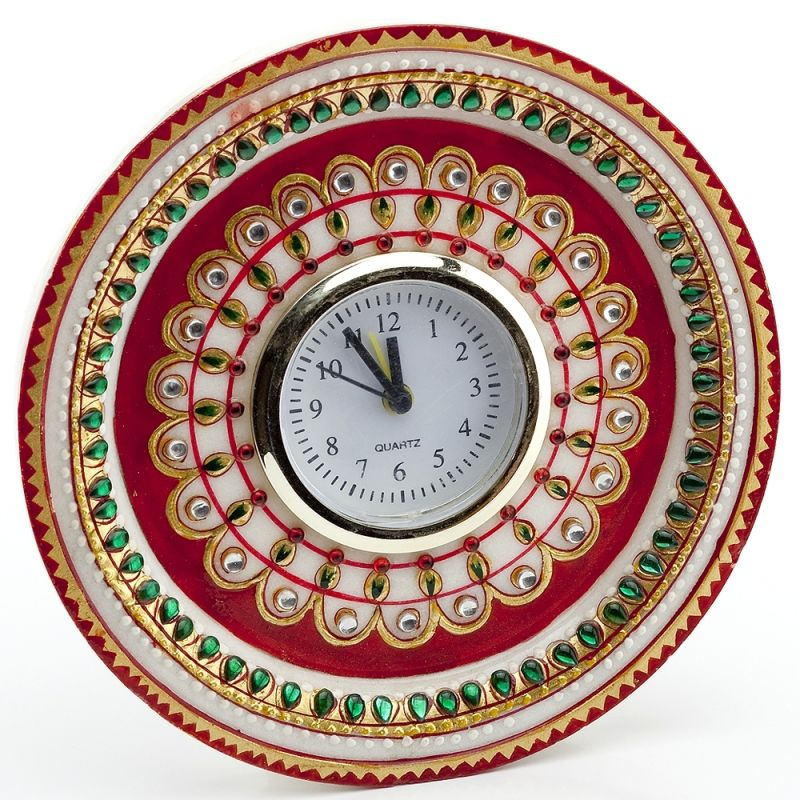 Buy Marvel In Marble - Gold Embossed Kundan Work Alarm Clock_52 online