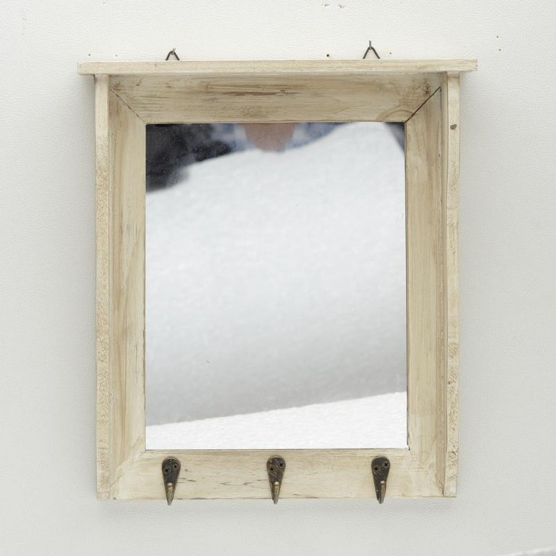 Vintage Finish Beige Wood Key Rack With A Mirror And Hooks