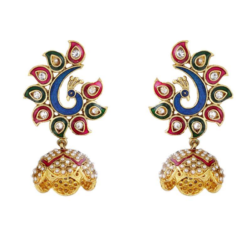 Buy Peacock Design Jhumka With Enamel And Kundans Online | Best ...