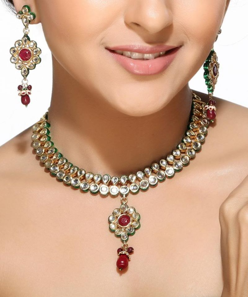 Buy Kundans And Rubies Floral Necklace Set online