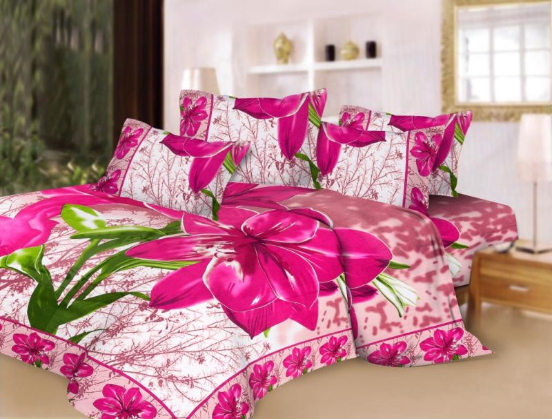 Buy Pure Cotton Pink Floral Print Double Bed Sheet Set Online