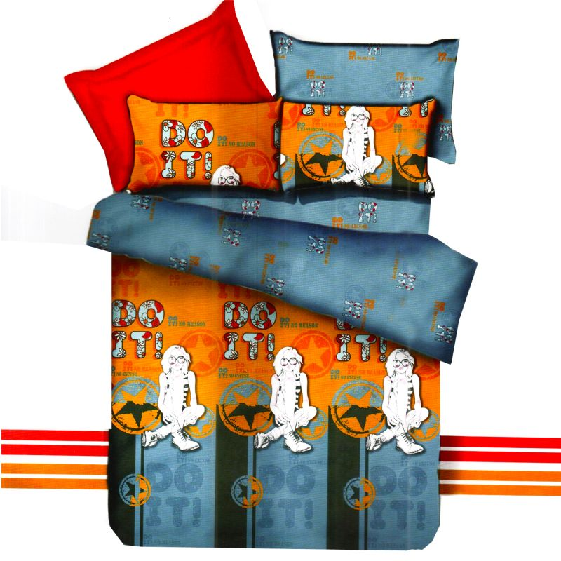 Buy Mustard & Grey Polyester Double Bedsheet With Contemporary Digital Print online