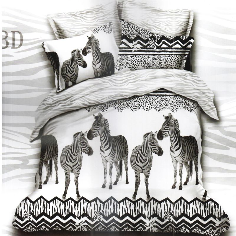 Buy White U0026 Black Polyester Double Bedsheet With Zebra Print Online