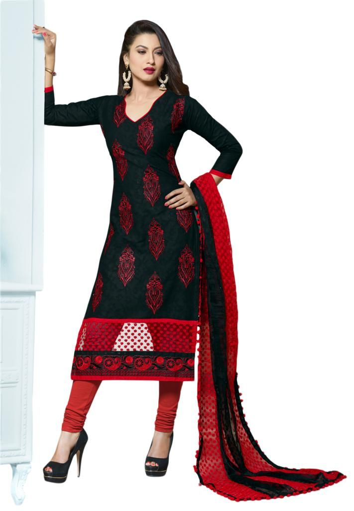 Buy Salwar Studio Black Red Embroidered Dress Material With
