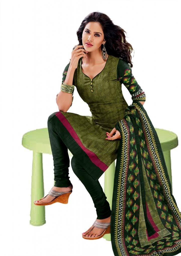 Buy Salwar Studio Mehandi & Green Cotton Printed Dress Material Ko-4408 Price and Features.Shop  Salwar Studio Mehandi & Green Cotton Printed Dress Material Ko-4408 Online.