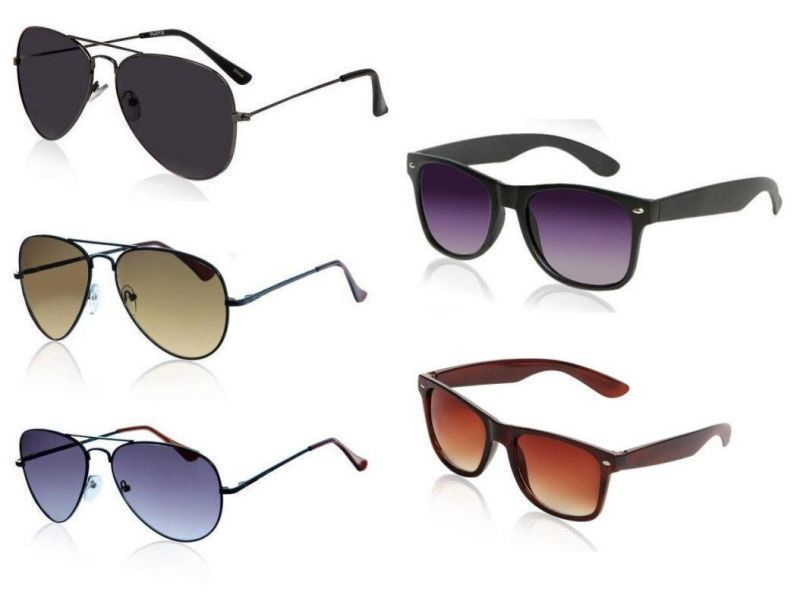 Buy 5 Sunglass Combo 3 Uv Protected Aviators And 2 Wayfarers online