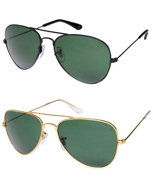 Buy Set Of 2 Uv Protected Sunglasses - Black Aviators And Golden Aviators online