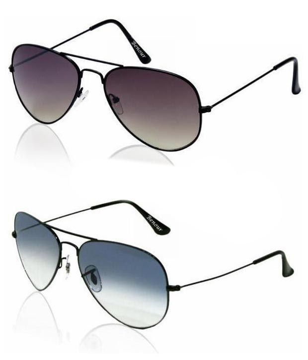 Buy Buy 1 Get 1 Free -dark Gray And Blue Lens Aviators With Gunmetal Frames online