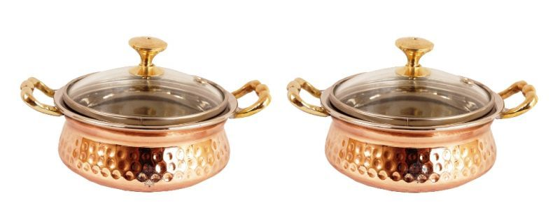 Buy Steel Copper Casserole Dish Serving Daal Curry Set Of 2 Handi Glass Lid online