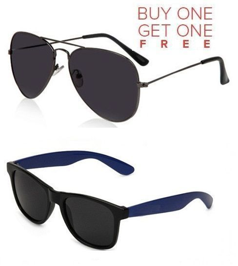 Buy Buy 1 Black Aviator Sunglasses And Get 1 Blue Wayfarer Sunglasses Free online