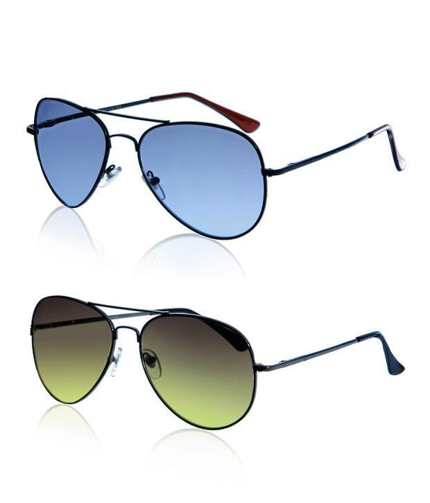 Buy Indmart Blue And Green Aviator Sunglasses online