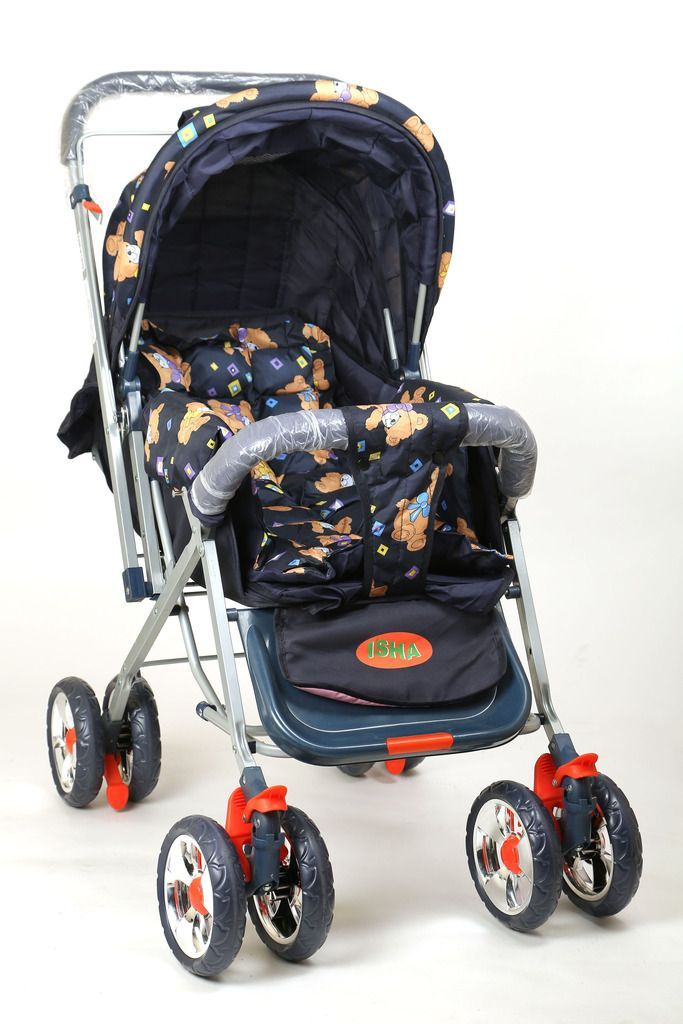 Buy Pram Comfort Cushioned 8 Wheel 3 Position Assorted Colour online