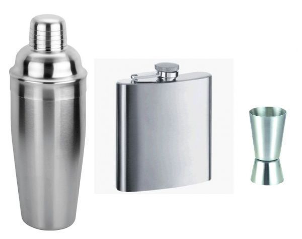 Buy Cocktail Shaker Hip Flask And Peg Measure Combo online