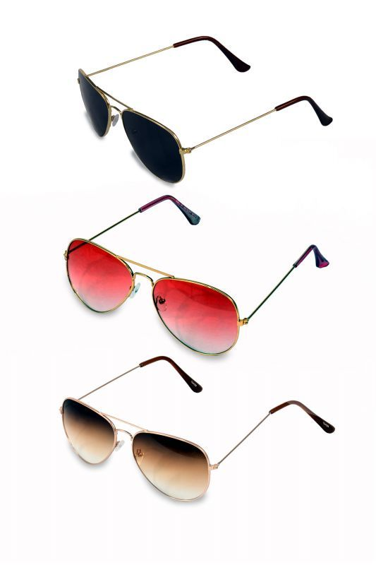 Buy Men And Women Black, Pink And Brown Shade Pack Of 3 Sunglass Combo online