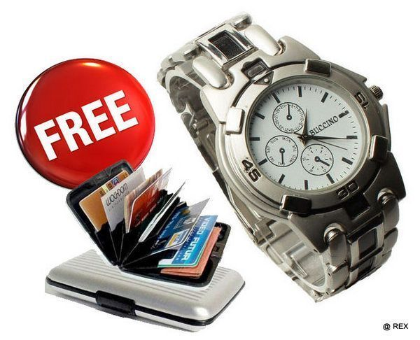 Buy Mens Sporty Look Watch Free Aluminium Credit Card Wallet online