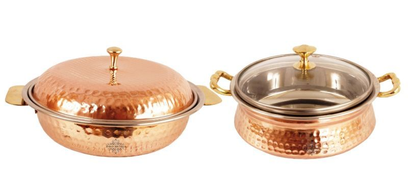 Buy Steel Copper Donga 750 Ml 1 Casserole Handi Glass Lid 700 Ml Dishes online