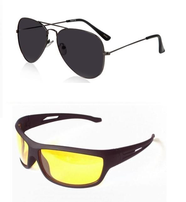 Buy Combo Of Black Aviators And Night Driving Sunglasses online