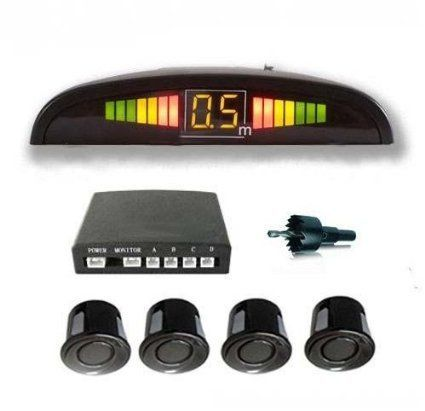Buy [real] Car Reverse Parking 4 Sensor Security LED Display Black With Buzzer online