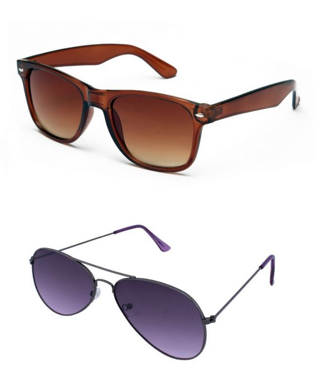 Buy Blue-tuff Mens Wayfarer Aviator Sunglass Combo-brown/purple online