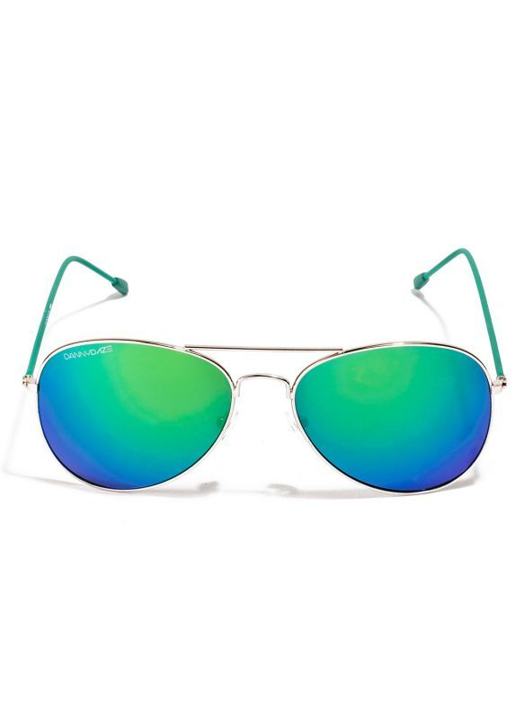 Buy Danny Daze Green Mirror Lens Aviator Sunglasses For Men & Women online