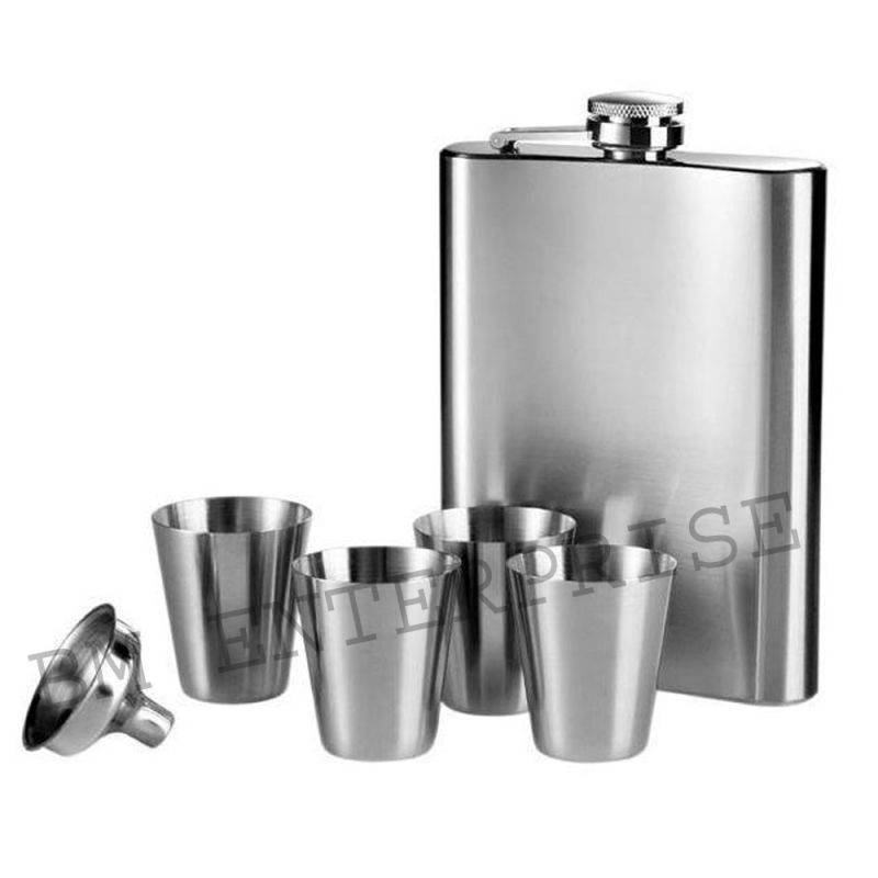 Buy Stainless Steel Drinks Hip Wine Flask Gift Set Box 7 Oz (207 Ml) Hip Flask With 4 Shot Glasses And 1 Funnel online