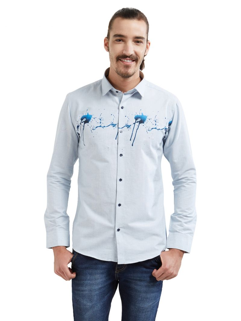 Buy Solemio Men 100% Cotton Full Sleeve Shirt (code - A17sh1024ebu) online