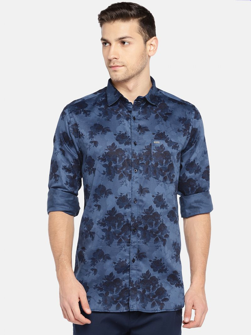 Buy Solemio Men Blue Printed Casual Shirt online