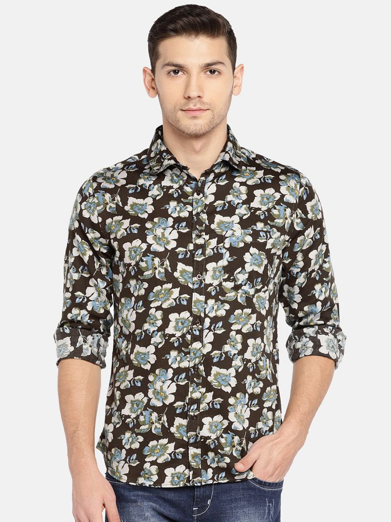 Buy Solemio Men Black & Beige Printed Casual Shirt online