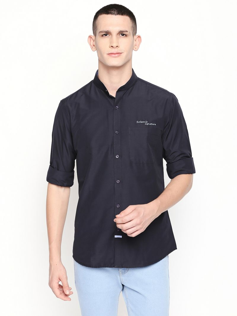 Buy Solemio Navy Blue Poly Cotton Shirt For Mens online