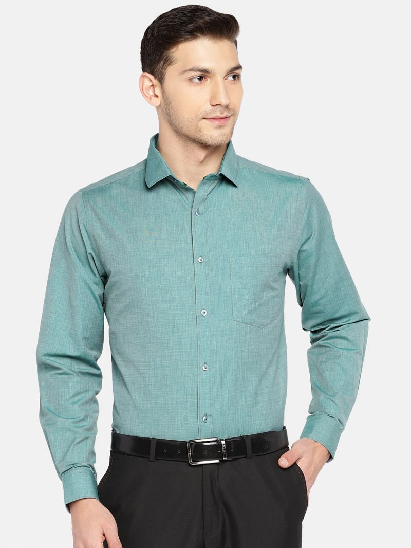 Buy Solemio Men Green Solid Formal Shirt online