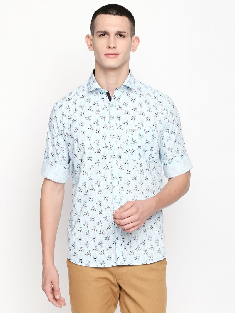 Buy Solemio Blue Printed Cotton Shirt For Mens online