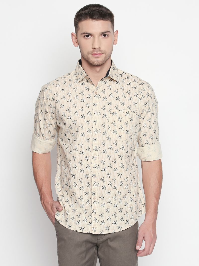 Buy Solemio Brown Printed Shirt For Mens online
