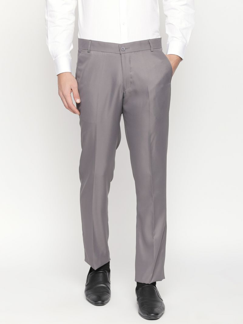 Buy Solemio Taupe Formal Trouser For Mens online