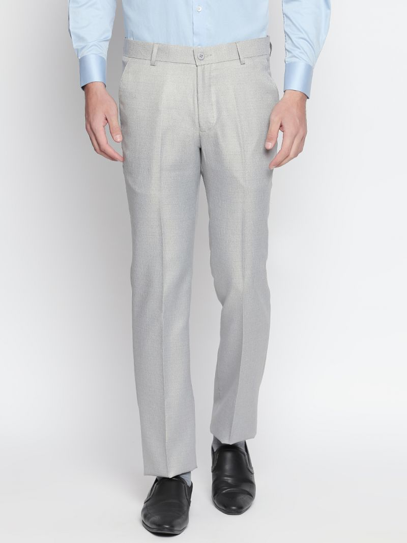 Buy Solemio Grey Formal Trouser For Mens online