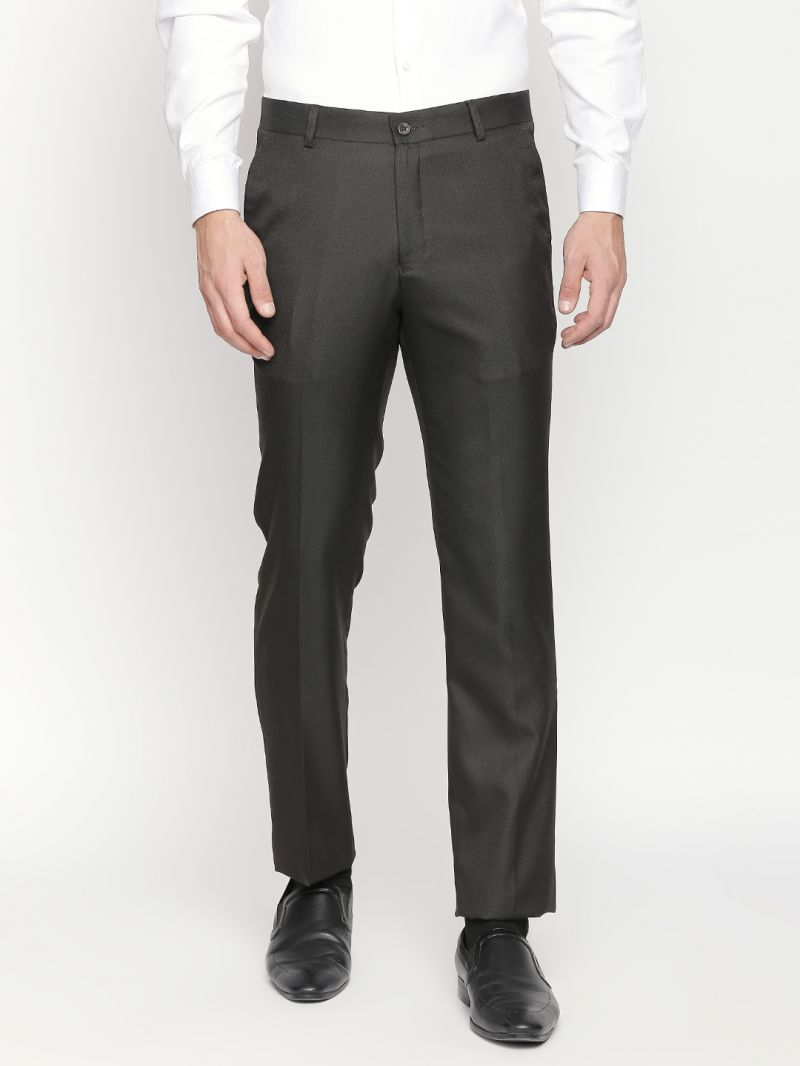 Buy Solemio Brown Formal Trouser For Mens online