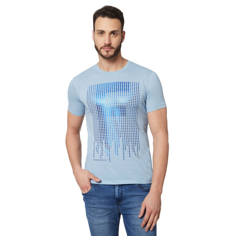 Buy Fitz Blue Round Neck T-Shirt For Mens online