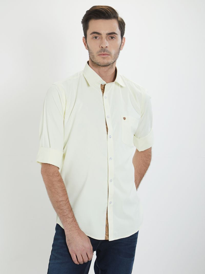 Buy Solemio Yellow Solid Shirt For Mens online