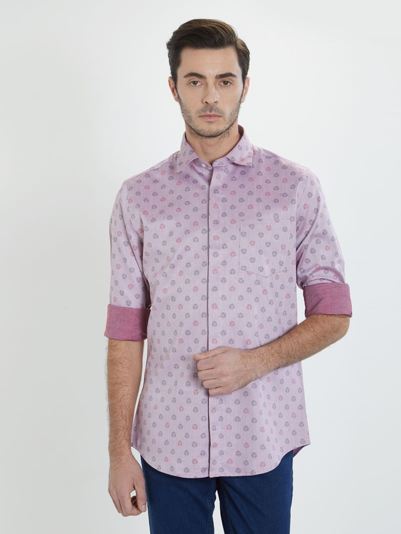 Buy Solemio Lavender Printed Shirt For Mens online