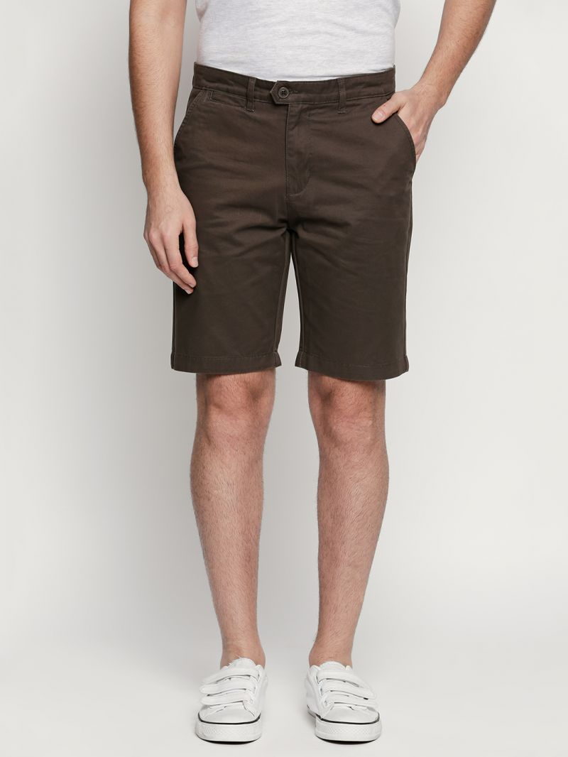 Buy Fitz Coffee Brown Cotton Shorts For Mens online
