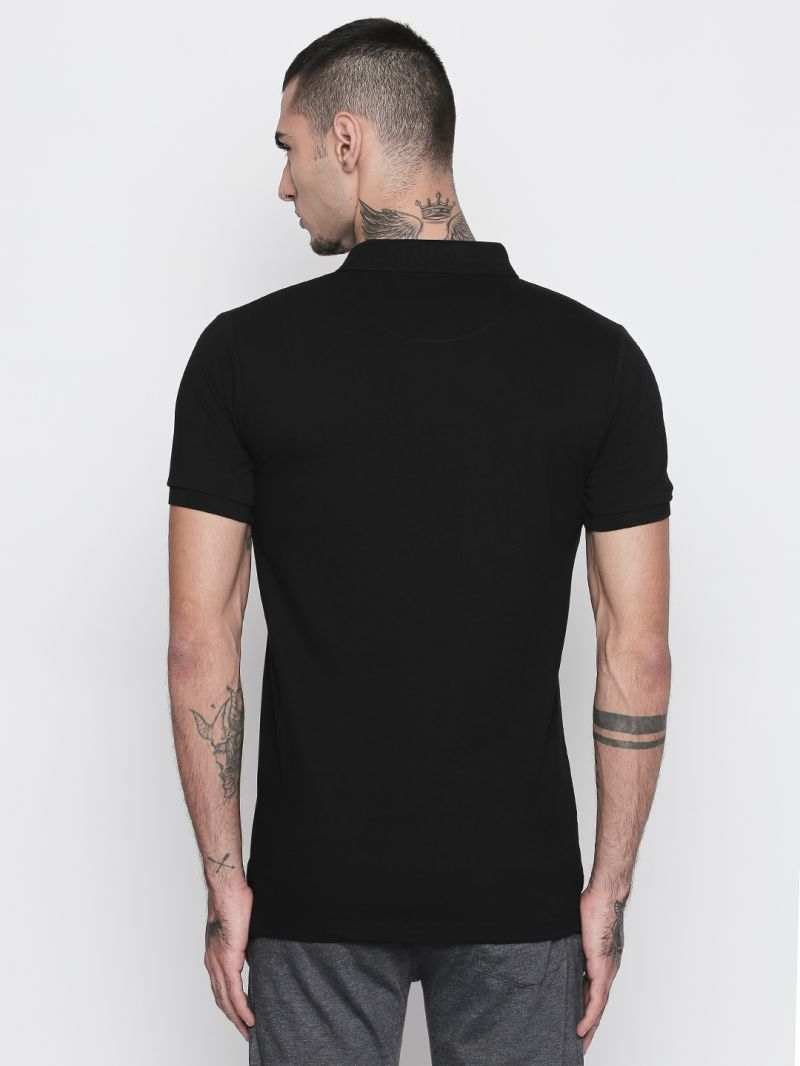 69ffb3896c2 Buy Fitz Cotton Black Polo T-Shirt For Mens Online